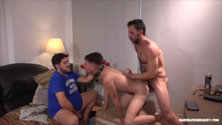 two daddies spit-roast fuck latino twink's ass