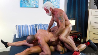 real-life bear daddy couple fucks a muscle hunk's ass