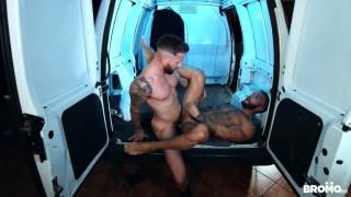 masked driver jumps guy & pushes him back of van