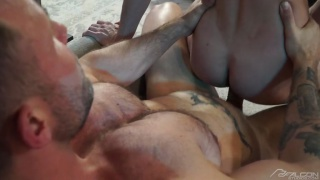 top hunk watches his huge cock disappearing in bottom's asshole