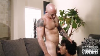 two guys lock lips & strip each other