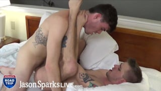 guy gets turned on feeling his cock in bottom's throat