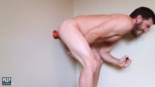 bearded jock plunges dildo to the wall & fucks it