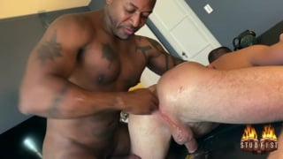 Amerifist works hole with his fist