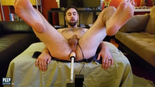 bearded bisexual guy gets fucking by a dildo machine