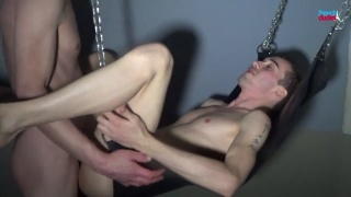 two french guys fuck in a sling in a paris cruising bar