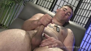 22-year-old Marine stud strokes his 6.5-inch cock