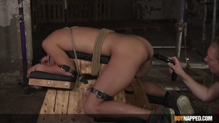 Slave Hogtied to Fucking Bench Gets Fisted