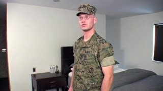Bespectacled Military Stud Gets his Cock Milked
