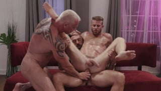 Twink Busts into His Stepdad's Poker Game -- They Fuck Him!