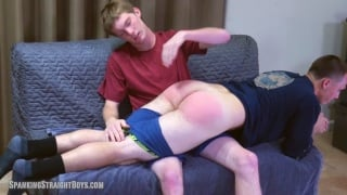 one straight boy spanks another's ass