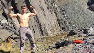 Young Chiseled Hiker Jerks Off in the Mountains