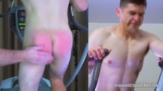 Muscle Stud Spanked While on elliptical Machine