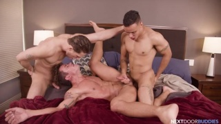 Three Jocks Play Outdoor Twister Then Head Inside to Fuck