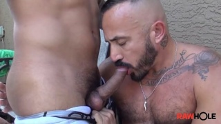 Mexican Daddy Sucks Man's Dick Outside Before Getting Raw Fucked