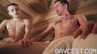 Twink Gropes his Stepfather's Crotch in Sauna