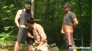 Bearded Man Stumbles on Two Others Stroking in the Woods