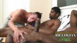 Brazilian hung Black men fill young gay man's horny holes