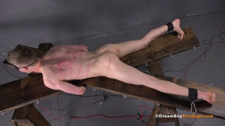 naked & blindfolded and restrained spread eagle to a cross