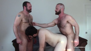 newcomer gets tag-team fucked by two hairy men