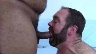 hairy daddy bear gulps a thick piece of meat
