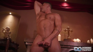 horny priest plays with sound and slides it inside his dick