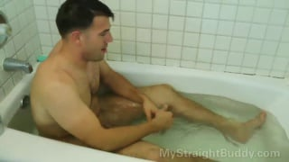 marine cleans up in the bathtub and shower