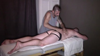 spanish muscle hunk massages and fucks his french client