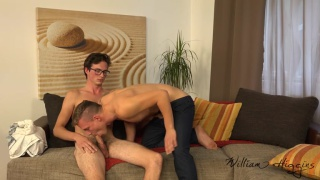 bespectacled straight guy gets his anal cherry broken