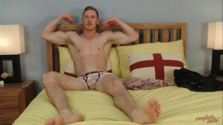 muscular athlete in sexy underwear does his first JO video