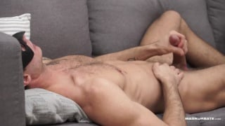 watching a sexy guy with a furry, chiseled body jacking off