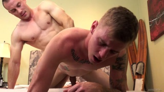 chiseled muscle hunk fucks a blond guy doggy style
