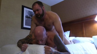 Corpulent homo fellows having sex with each other ju