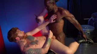 ginger guy in jockstrap gets fucked by ebony muscle hunk