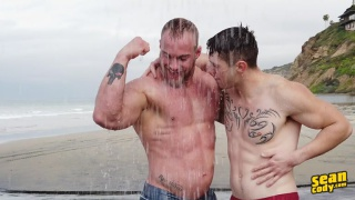 muscled guys run on the beach then go home to fuck