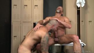 older men getting off together in locker room