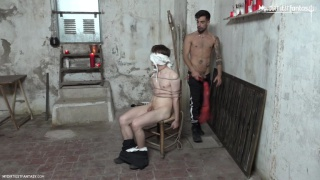 blindfolded twink bound to a chair waits for his master
