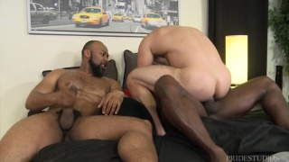 interracial sex with two black daddies fucking a latino bottom