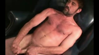 hot bearded daddy pulling his cock