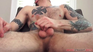 furry inked guy with big round nuts jacking off