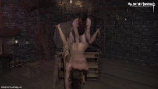 slave boy gets fisted upside down