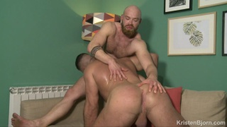 two hairy, bearded men love to kiss and fuck