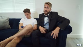 bearded guy fucks his roommates ass just before marrying his mom