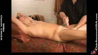 guy gets a massage then masseur strokes his bone