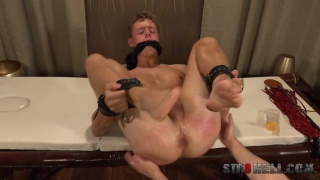 bound guy waits for his spanking