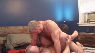 beard & blond muscle hunk drills bald man's ass
