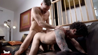 muscle daddy fucks a hung french-canadian stud