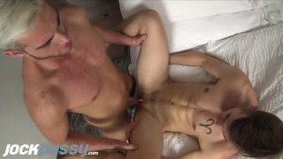 handsome fit guy fucks trans guy's pussy