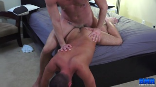 daddy fucks his bottom right off the bed