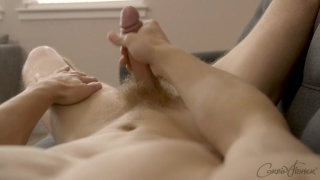handsome blond jock strokes his ample cock